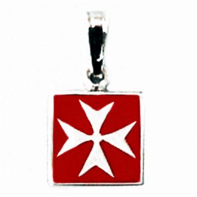 Maltese Cross pendant Sterling Silver square Red