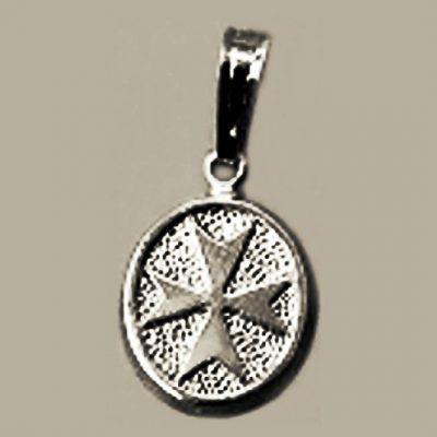Maltese Cross pendant Sterling Silver oval small