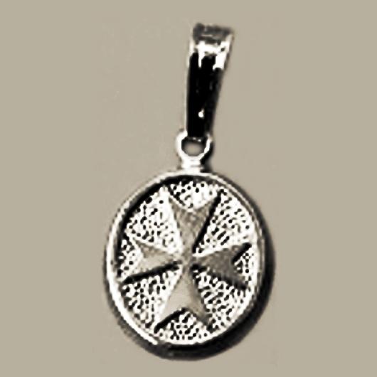 Maltese cross pendant sterling silver oval small made in malta maltese cross pendant sterling silver oval small aloadofball Images
