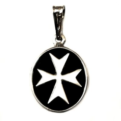 Maltese Cross pendant Sterling Silver oval small black