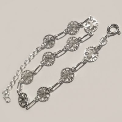 Sterling Silver Bracelet Maltese Cross 8mm
