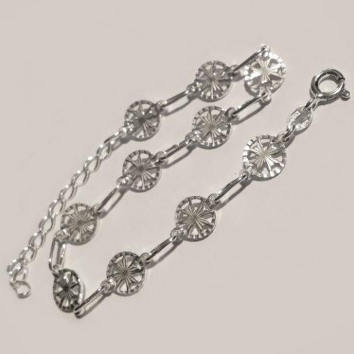 Sterling Silver Bracelet Maltese Cross 8mm