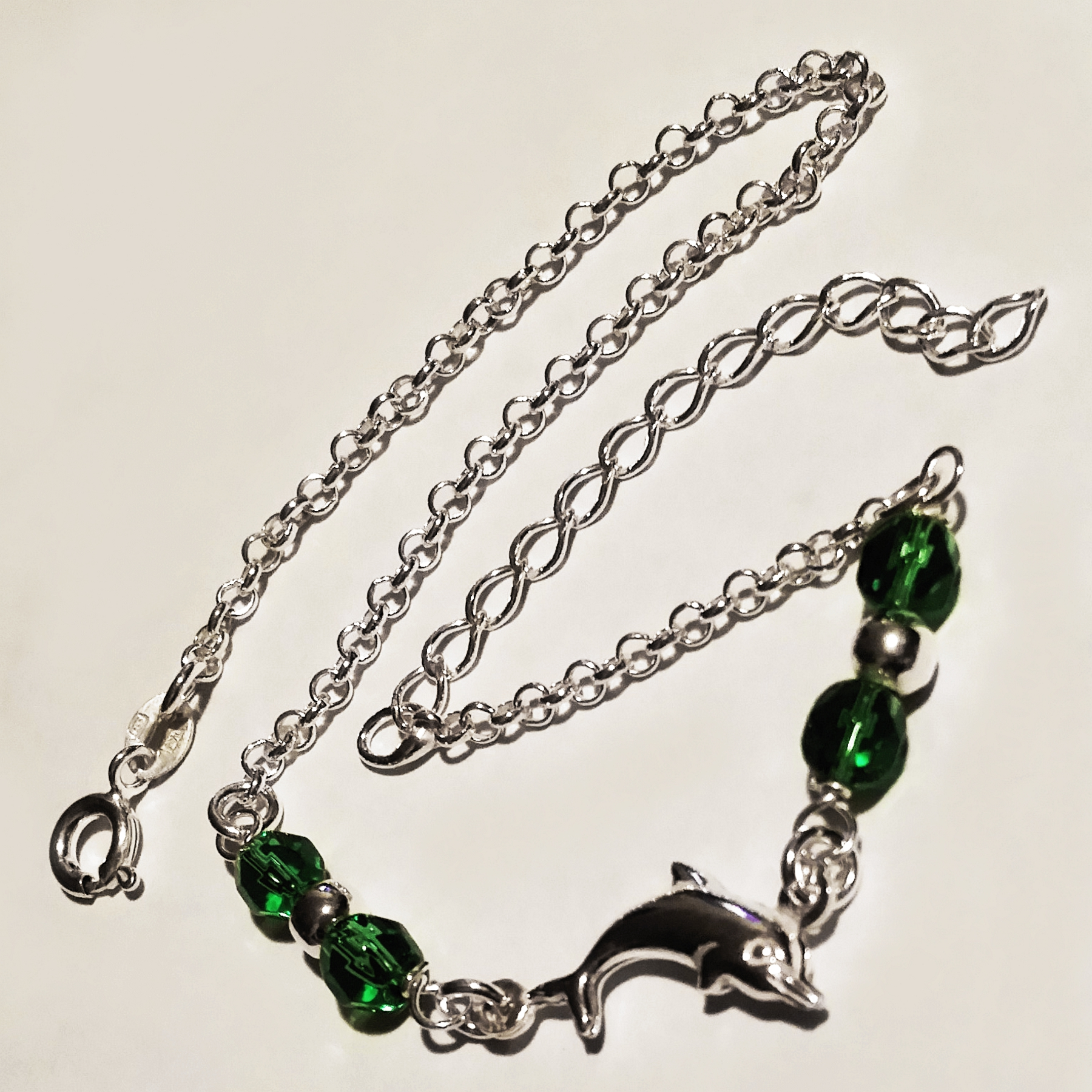crystal green crystals anklet ss sterling dolphin product silver