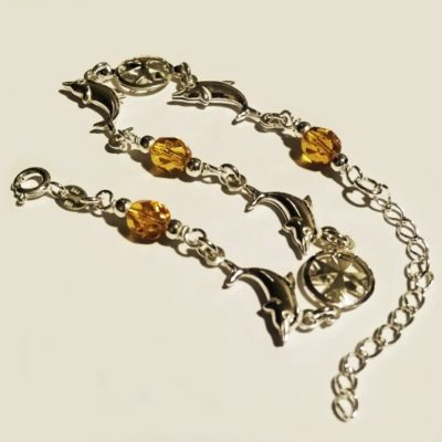 Sterling Silver Bracelet Maltese Cross dolphins yellow crystal