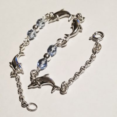 Sterling Silver Bracelet dolphins blue crystal