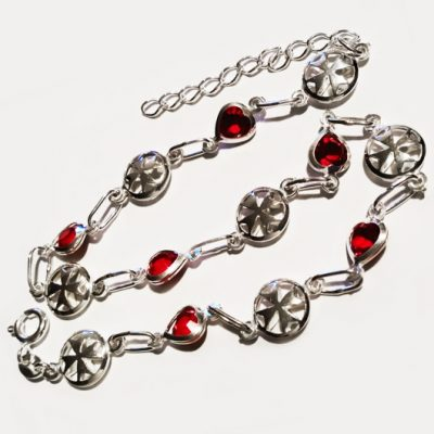 Sterling Silver Anklet double sided Maltese Cross red crystal
