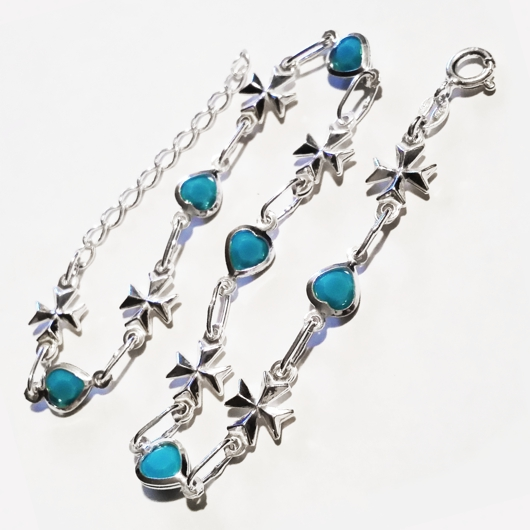 0248855f02 Sterling Silver Anklet Maltese Cross turquoise blue hearts