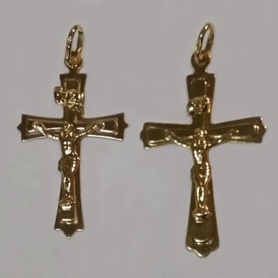 9ct Gold Crucifix pendant Italy 4cm and 4.2cm
