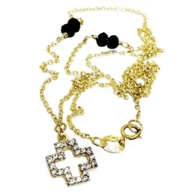 9ct Gold diamond cut necklace Cross black beads