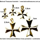 9ct-gold-maltese-cross-3D-pendants-5-sizes-centimetres