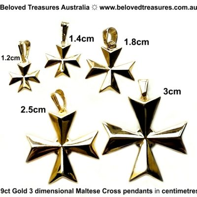 9ct gold Maltese Cross 3D pendants 5 sizes centimetres