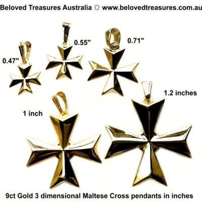 9ct gold 3D Maltese Cross pendants 5 sizes inches