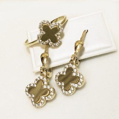 9ct 9kt yellow Gold Cross ring earrings Set