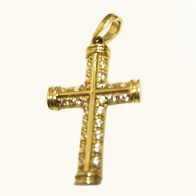 9ct 9kt yellow Gold Cross pendant sparkling stones