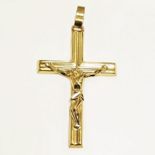 9ct Gold Crucifix pendant Italy 5.3cm