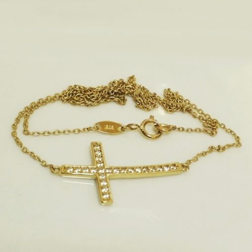 9ct Gold necklace sparkling Cross
