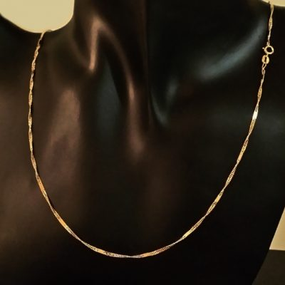 9ct Gold chain diamond cut Curb twist Bar 2mm 45cm Italy