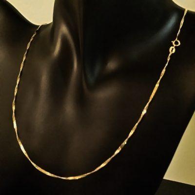 9ct Gold chain diamond cut Curb twist Bar Italy