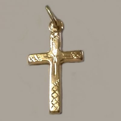 9ct Gold Cross engraved 3cm UnoAerre Italy
