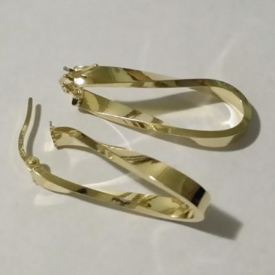 9ct 9kt Gold earrings Eternity Swirl Italy