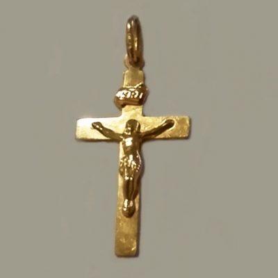 9ct Gold flat Crucifix 3.3cm UnoAerre Italy