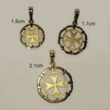 9ct-gold-Maltese-Cross-framed-circle-pendants