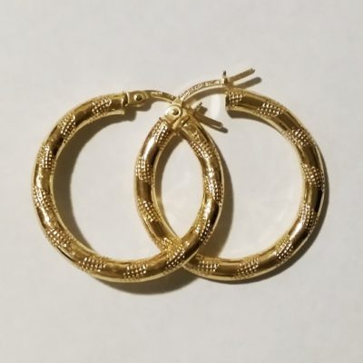 9ct 9kt Gold hoop earrings Grid 24mm Italy