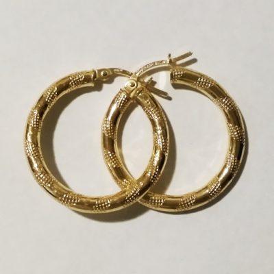 9ct 9kt Gold hoop earrings Grid 24mm Italy