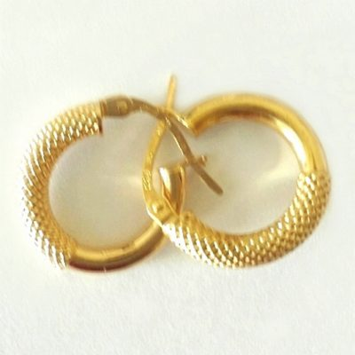 9ct 9kt Gold hoop earrings half Florentine 15mm Italy