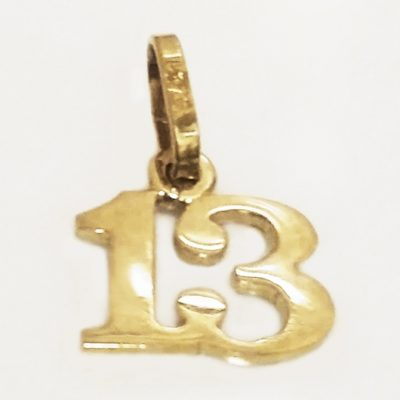 9ct Gold number 13 pendant charm