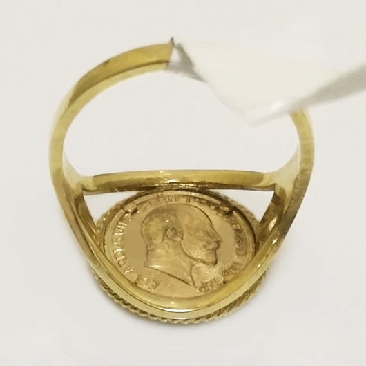9ct Gold ring 1906 St George Sovereign coin image