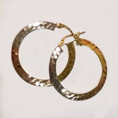 9ct 9kt Gold hoop earrings Tri Colour 26mm Italy