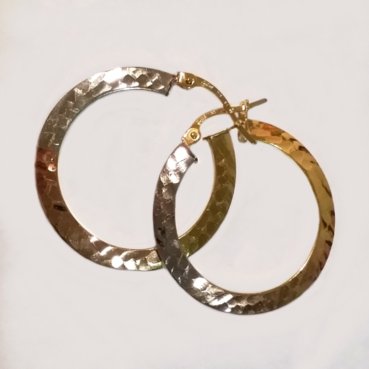 9kt Gold hoop earrings Tri Colour 26mm Italy