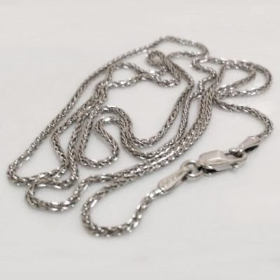 9ct white Gold chain Spiga diamond cut 55cm