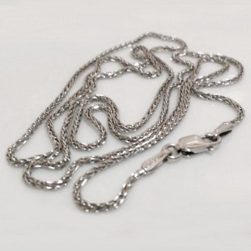 9ct white Gold chain Spiga diamond cut 55cm