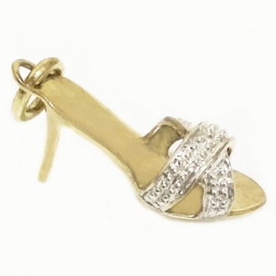 9ct yellow and white Gold stiletto shoe pendant charm