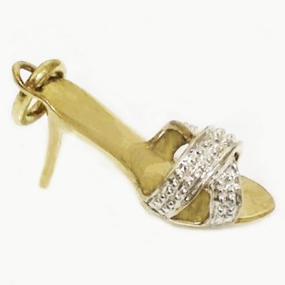 9ct yellow white Gold stiletto shoe pendant charm