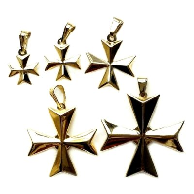 9ct gold 3D Maltese Cross pendants 5 sizes