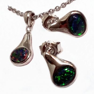 Black Opal earrings pendant Sterling Silver Lightning Ridge Australia