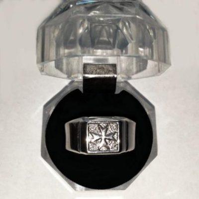 Maltese Cross ring Sterling Silver square