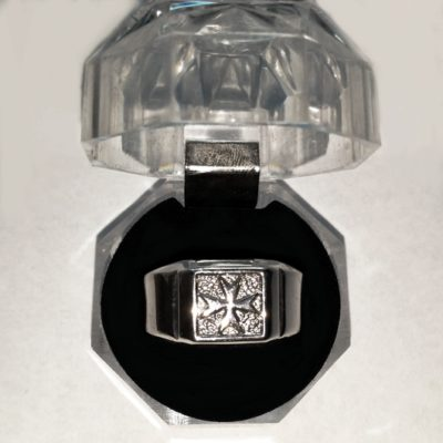 Maltese Cross ring Sterling Silver square