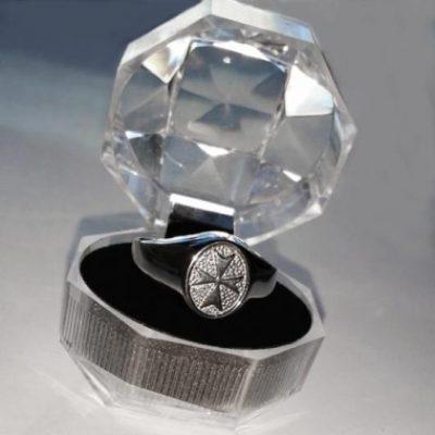 Maltese Cross ring Sterling Silver oval