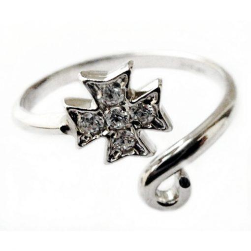 Maltese Cross ring Sterling Silver adjustable