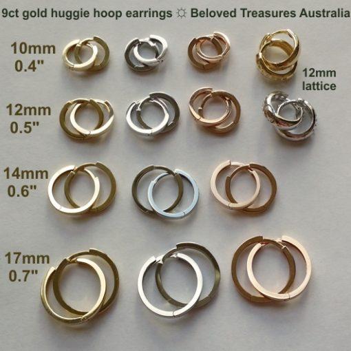 9ct 9kt Gold huggie hoop earrings Italy