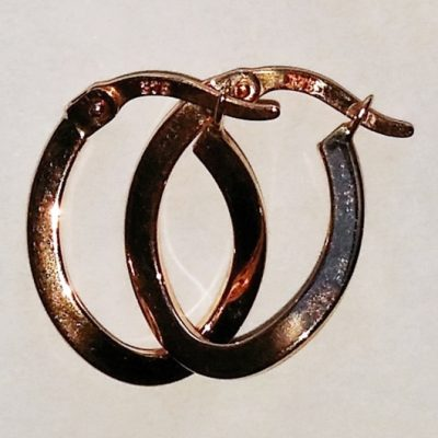 9ct rose Gold hoop earrings figure 8 16mm Italy