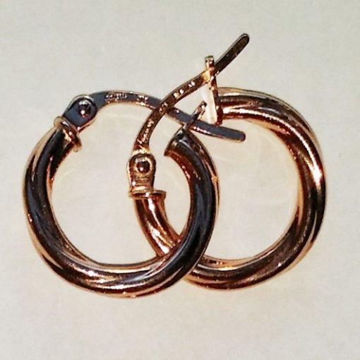 9ct rose Gold hoop earrings Swirl 14mm Italy