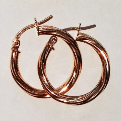 9ct rose Gold hoop earrings Swirl 19mm Italy