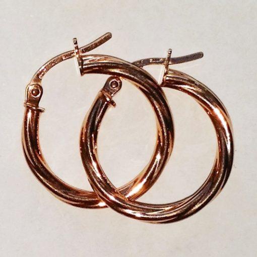 9ct rose Gold hoop earrings Swirl 19mm Italy