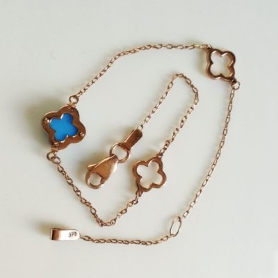 9ct rose gold bracelet Greek Cross blue