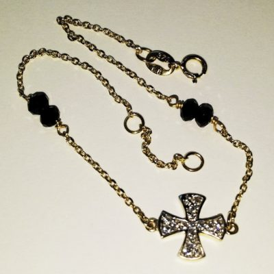 9ct gold bracelet Maltese Cross black beads and zirconia